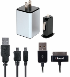 Isound - iPad®/iPhone®/iPod® & USB Device 4-In-1 Combo Charger Pack Case Pack 4