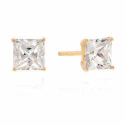 J Goodin Classic Simple Style 6mm New Sterling Princess Cut Cubic Zirconia Studs Goldtone finish
