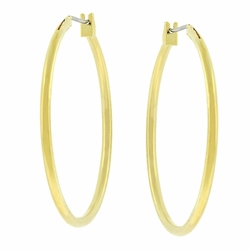 J Goodin Goldtone finish Simple Fashion Contemporary Style Basic Genuine Gold Finish Hoop Earrings
