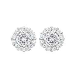 J Goodin Silvertone Finish Cubic Zirconia Anniversary Bridal Wedding Style Bella Bridal Earrings in Clear