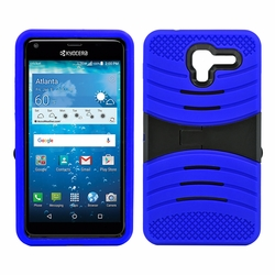 Kyocera Hydro View C6742 Hybrid Silicone Case Cover Stand Blue