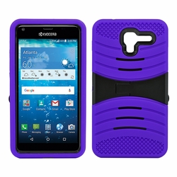 Kyocera Hydro View C6742 Hybrid Silicone Case Cover Stand Purple