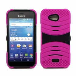 Kyocera Hydro Wave C6740 Hybrid Silicone Case Cover Stand Pink