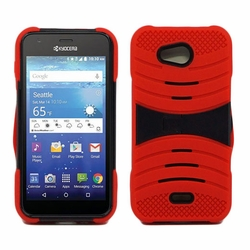 Kyocera Hydro Wave C6740 Hybrid Silicone Case Cover Stand Red