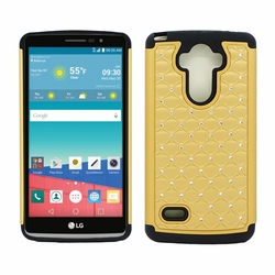 LG G Stylo LS770 Diamond Hybrid Rugged Case Cover Gold