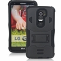 LG G2 / D802 Impact Silicone Case Dual Layer with Stand Black