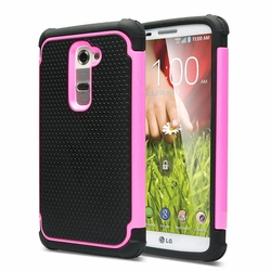 LG G2 / D802 Plus Shockproof Rugged Box Case Cover Matte Pink