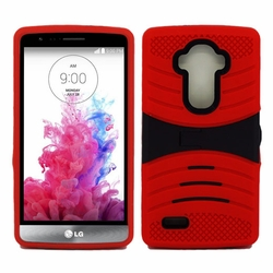 LG G4 Hybrid Silicone Case Cover Stand Red