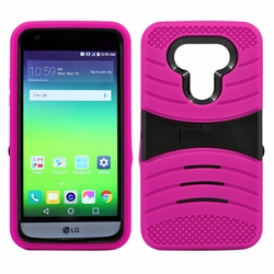 LG G5 Hybrid Silicone Case Cover Stand Pink