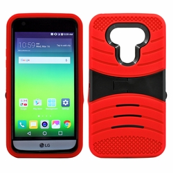 LG G5 Hybrid Silicone Case Cover Stand Red