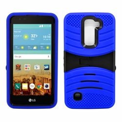 LG K10 / Premier LTE Hybrid Silicone Case Cover Stand Blue