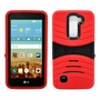 LG K10 / Premier LTE Hybrid Silicone Case Cover Stand Red