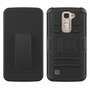 LG K7 / Tribute 5 Armor Belt Clip Holster Case Cover Black