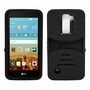 LG K7 / Tribute 5 Hybrid Silicone Case Cover Stand BLack