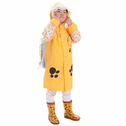 Little Tiger Cute Baby Rain Jacket Infant Raincoat Toddler Rain Wear YELLOW S