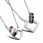 Male and female pendant Carving English diamond Square and circle interlocking loving heart couple necklace for woman only -