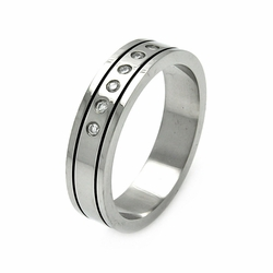 Mens Stainless Steel Jewelry 6 Cubic Zirconia Stones Band Ring Width: 6Mm - Size: 9