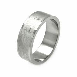 Mens Stainless Steel Jewelry Abstract Design Band Ring Width: 8Mm - Size: 9