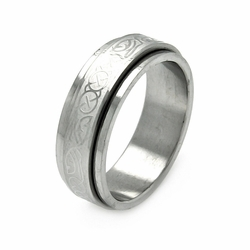 Mens Stainless Steel Jewelry Abstract Design Spinner Band Ring Width: 7.9Mm - Size: 11