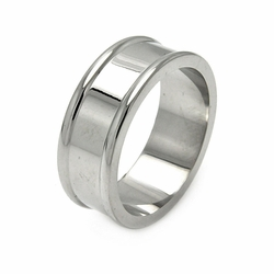 Mens Stainless Steel Jewelry Band w/ Border Ring Width: 7.8Mm - Size: 10