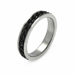 Mens Stainless Steel Jewelry Black Chain Band Ring Width: 5.2Mm - Size: 12