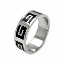 Mens Stainless Steel Jewelry Celtic Design Band Ring Width: 8Mm - Size: 11