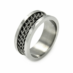 Mens Stainless Steel Jewelry Chain Center Band Ring Width: 9.1Mm - Size: 7 (Sizable)