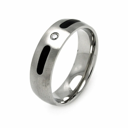 Mens Stainless Steel Jewelry Cubic Zirconia Center Stone w/ Black Enamel Band Ring Width: 6.9Mm - Size: 9