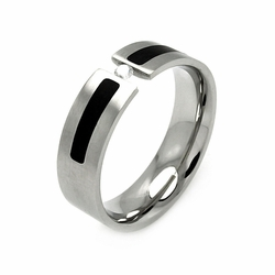 Mens Stainless Steel Jewelry Cubic Zirconia Connecting Center Stone w/ Black Enamel Band Ring Width: 6.9Mm - Size: 9