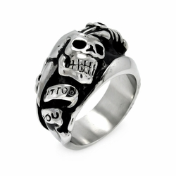 Mens Stainless Steel Jewelry Dagger Skull Ring Width: 16Mm - Size: 10