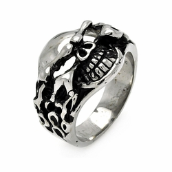 Mens Stainless Steel Jewelry Flamed Skull Head Ring Width: 18.8Mm - Size: 7 (Sizable)