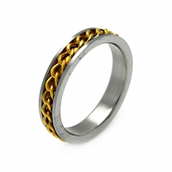 Mens Stainless Steel Jewelry Gold Plated Chain Band Ring Width: 5.2Mm - Size: 12