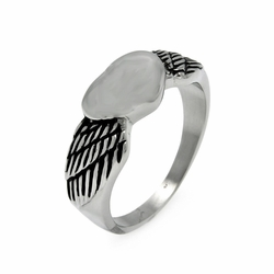 Mens Stainless Steel Jewelry Heart w/ Wings Ring Width: 9Mm - Size: 11