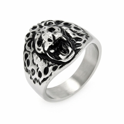 Mens Stainless Steel Jewelry Lion'S Head Ring Width: 19.3Mm - Size: 9