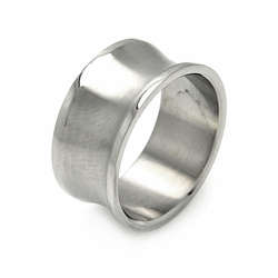 Mens Stainless Steel Jewelry Matte Finish Band Ring Width: 9.8Mm - Size: 12