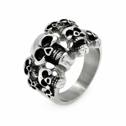 Mens Stainless Steel Jewelry Multi Skulls Ring Width: 18.3Mm - Size: 9