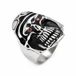 Mens Stainless Steel Jewelry Pilot Skull Head w/ Red Cubic Zirconia Eyes Ring Width: 28.8Mm - Size: 7 (Sizable)