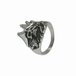 Mens Stainless Steel Jewelry Pirate Skull Ring Band Width: 2 Mm At Narrowest Part Skull Width: 21Mm Stainless Steel - Size: 13