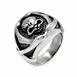 Mens Stainless Steel Jewelry Skull Head Center Ring Width: 21.3Mm - Size: 7 (Sizable)