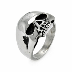 Mens Stainless Steel Jewelry Skull Head Ring Width: 23Mm - Size: 9