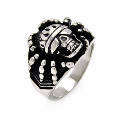 Mens Stainless Steel Jewelry Spider Skull Head Ring Width: 19.2Mm - Size: 7 (Sizable)