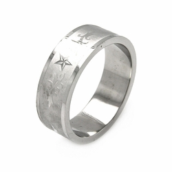 Mens Stainless Steel Jewelry Stars w/ Abstract Design Band Ring Width: 8Mm - Size: 11