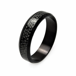 Mens Stainless Steel Jewelry Thin Padre Nuestro Black Band Width: 6Mm - Size: 9