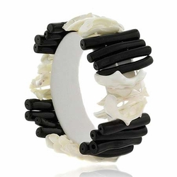 Mother of Pearl Shell & Onyx Stone Chunky Bracelet