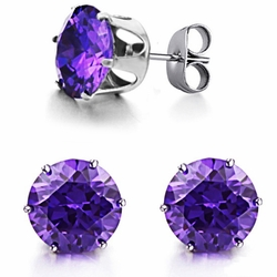 Ms han edition jewelry delicate zircon titanium steel stud earrings - Ms han edition jewelry delicate zircon titanium steel stud earrings-Size 7mm