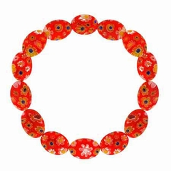 Murano Glass Red Millefiori Oval Stretch Bracelet