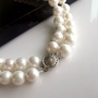 Natural Double Pearl Shell Beaded Wedding Bracelet for Brides -