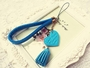 Phone Strape Love Tassel PU Leather Camera Hand Rope Blue