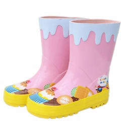 [PINK]Cakes Infant Rainy Day Wear Toddler Rain Shoes Baby Rain Boot Rubber Shoes
