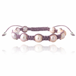 Pink Freshwater Cultured Pearls Shamballa Adjustable Bracelet